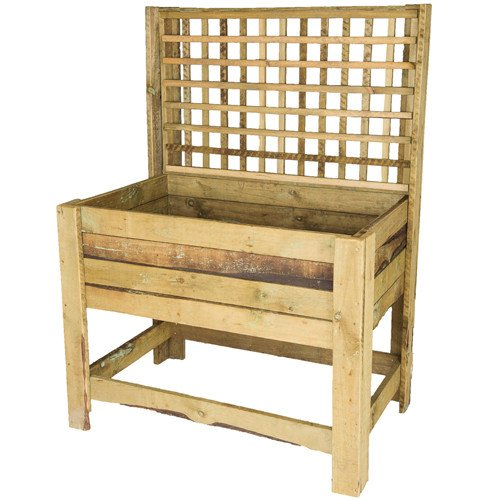 Tan E Standing Wooden Planter Box With Trellis The Pole Yard