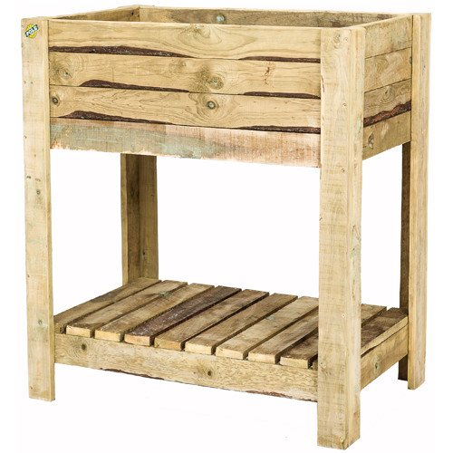 Wooden Tan-E Standing Planter with Shelf