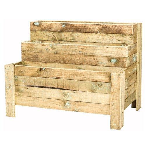Tan E 3 Tier Wooden Planter Box The Pole Yard